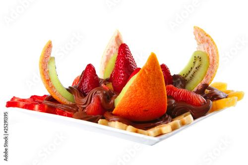 Foto op Canvas Sap exotic fruits in chocolate cream