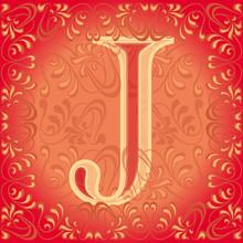 Letra J Roja Decorada, Jota