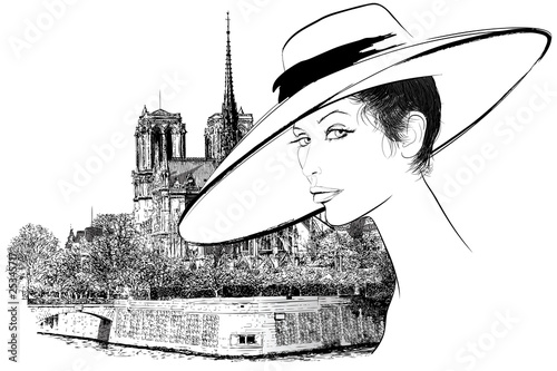 Foto op Canvas Illustratie Parijs Woman nearby Notre Dame in Paris