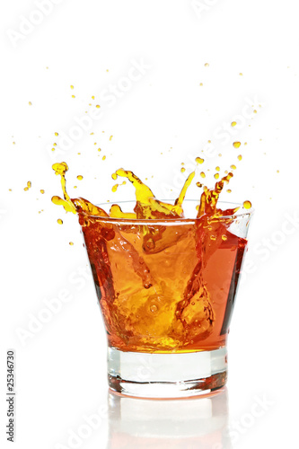 Garden Poster Splashing water Glass with splashing whisky drink