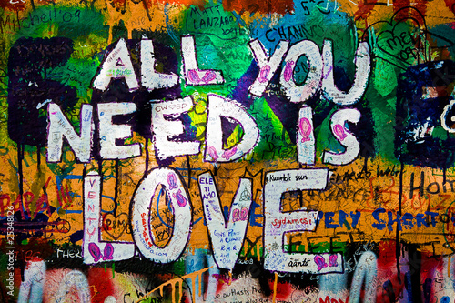 Deurstickers Graffiti Muro de John Lennon (Praga) Toma 2