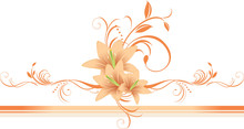 Lilies With Floral Ornament On The Decorative Border. Vector
