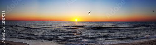 Poster Mer coucher du soleil Sunrise at sea panorama