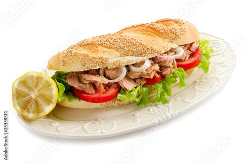 Staande foto Snack tuna sandwich-panino al tonno