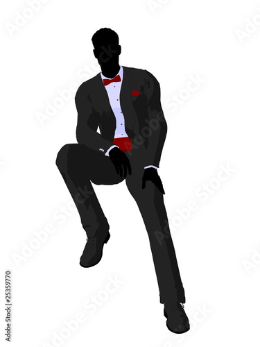 Wedding Groom in a Tuxedo Silhouette плакат