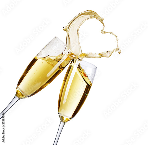 Fotografie, Obraz  Two Champagne Glasses with abstract Heart splash