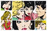 Colección de ilustraciones con parejas de enamorados