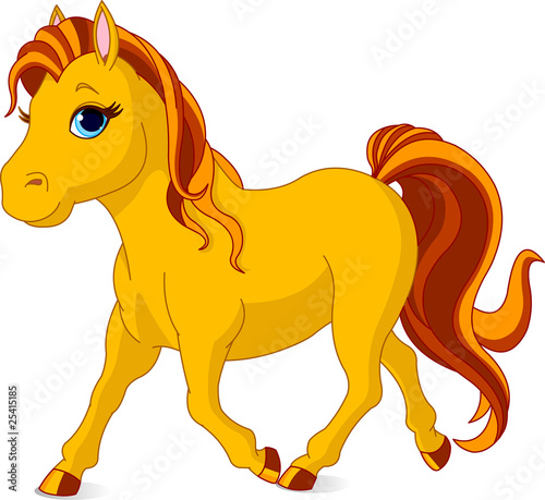 Garden Poster Pony Walking horse