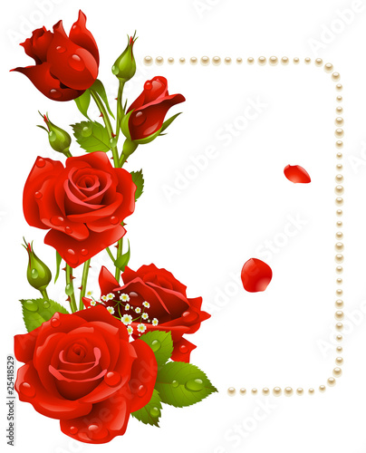 Photo  Vector red rose and pearls frame