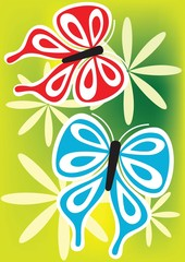 Fototapeta Illustration of flower with butterfly