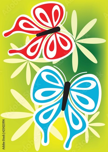 Illustration of flower with butterfly - 25423914