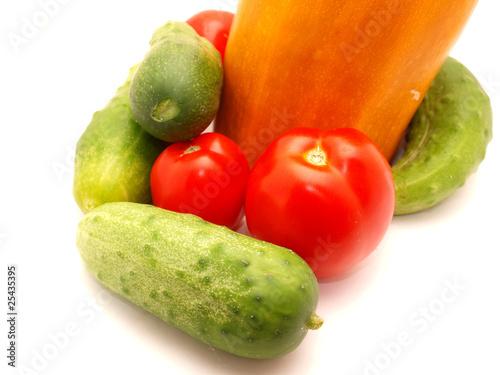 Fotobehang Groenten Tomatoes, vegetable marrow and cucumbers
