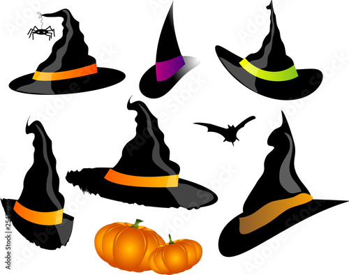Witch's hat set on white background, vector halloween Canvas