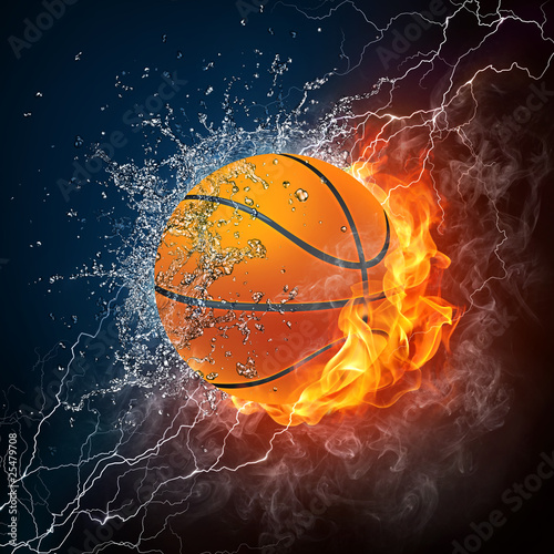 Stickers pour porte Flamme Basketball Ball