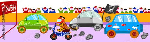 Tuinposter Cars Pazza gara di veicoli divertenti