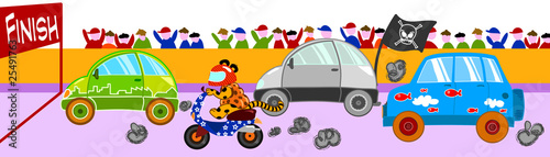 Deurstickers Cars Pazza gara di veicoli divertenti