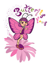 Butterfly Fairy Smiling On Top Of A Pink Daisy