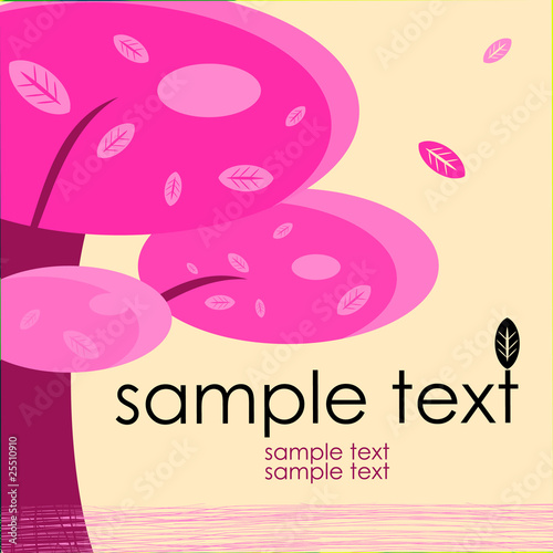 Deurstickers Roze card design with stylized trees and text nature