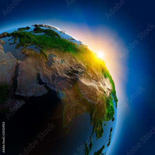 Plakaty ziemia wschod-slonca-nad-ziemia-w-kosmosie