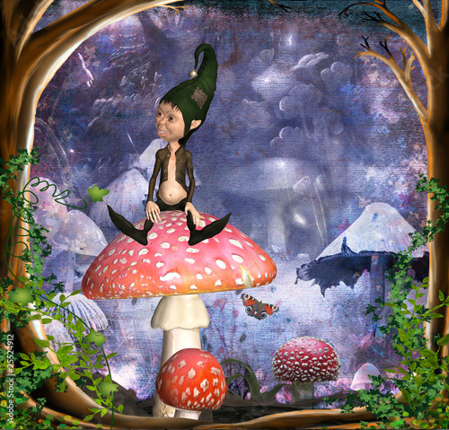 Aluminium Prints Fairies and elves kobold auf fliegenpilz