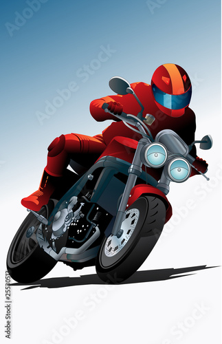 Poster Motocyclette Sport motorcycle vector with driver