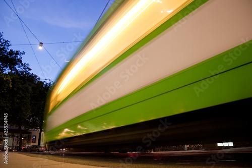 Langzeitbelichtete Straßenbahn In Hannover Buy This Stock Photo