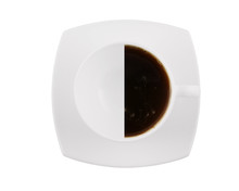 Half Of Black Coffee Cup Isolated On White