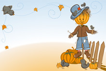 Thanksgiving Or Halloween Greeting Card - Scarecrow