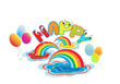 Cartoon happy letter with rainbow and color balloons