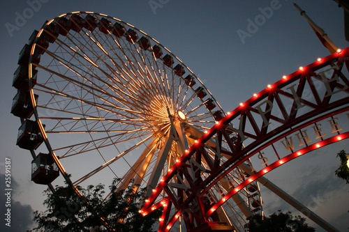 Foto auf Leinwand Vergnugungspark Chicago Ferris Wheel at Navy Pier