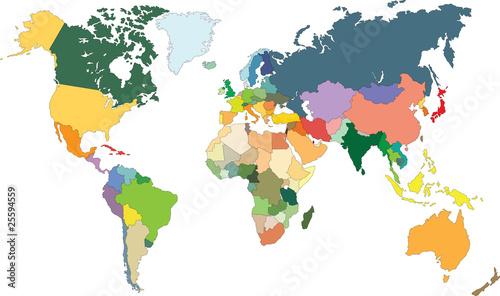 Deurstickers Wereldkaart Carte du monde avec pays