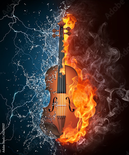Violin on Fire and Water Wallpaper Mural