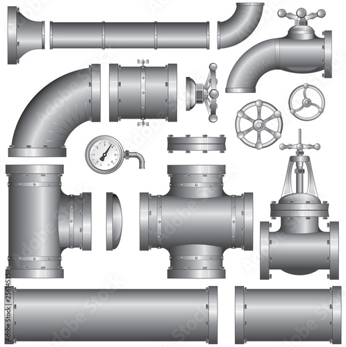 Fotografia  Set of pipeline elements (vector)