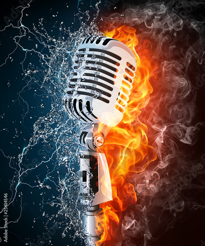 Poster Flamme Microphone on Fire and Water
