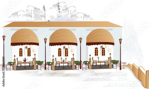 Foto auf AluDibond Gezeichnet Straßenkaffee Street cafe