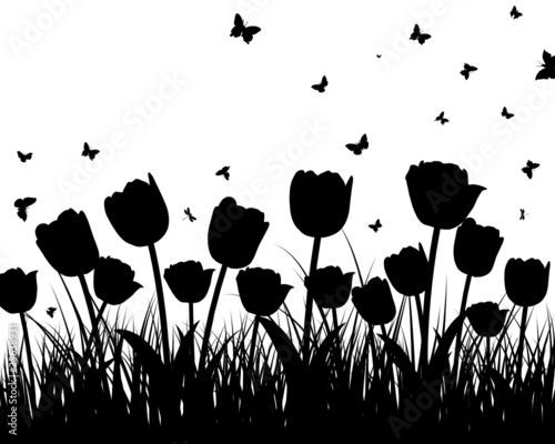Poster Floral black and white meadow silhouettes