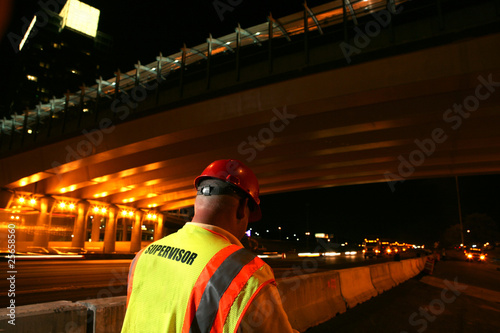 Fotografie, Obraz  Road construction crew supervisor