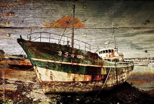 Photo Stands Shipwreck épave bateau carcasse port échouer coque rouiller langoustier