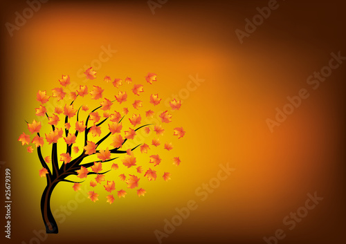 Autumn background with lonley tree, part 10, vector