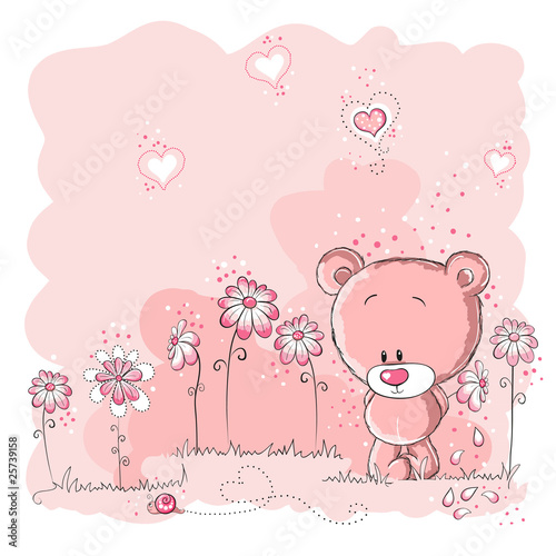 Pink cute bear holding a flower