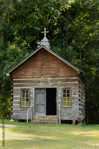 Log house country church in Troy,Alabama  - Buy this stock