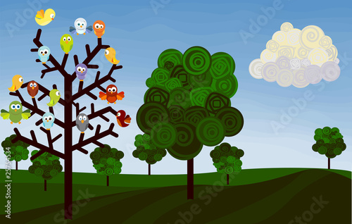 Deurstickers Vogels, bijen country landscape with birds