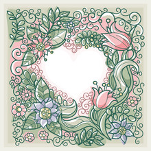 Floral Background With Decorat...