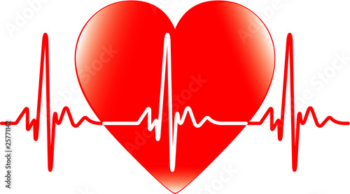 Photo Background with heart and heartbeat symbol - vector
