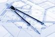 bow compass on blueprint