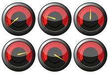 Set Of Red Speedometers For Car Or Else, Vector