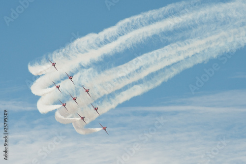 Fotografie, Obraz  formation aerobatics team leaving smoke trails in the sky