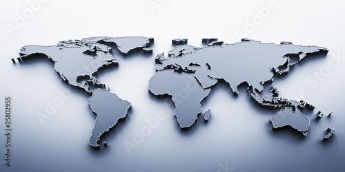 3D render blue world map #25802955