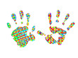 two colorful Handprints