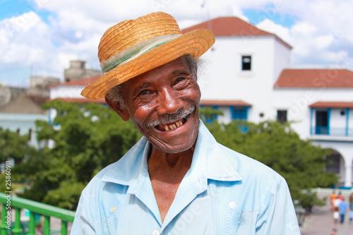 Old sympathetic cuban man with straw hat ,  Cuba Slika na platnu